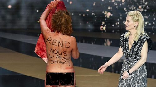 French Actress protests nude at César Awards ceremony !