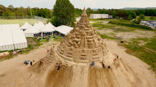 World's tallest sandcastle constructed in Denmark, with a theme on Covid pandemic